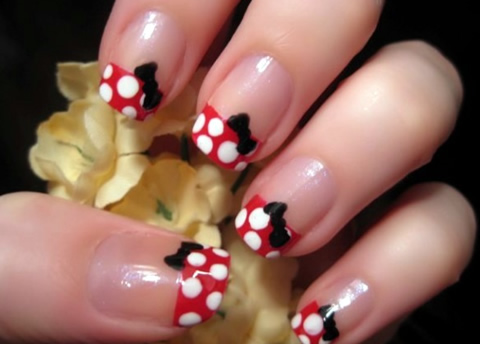 unhas minnie mouse Unhas inspiradas na Minnie Mouse