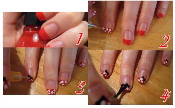unhas minnie Unhas inspiradas na Minnie Mouse