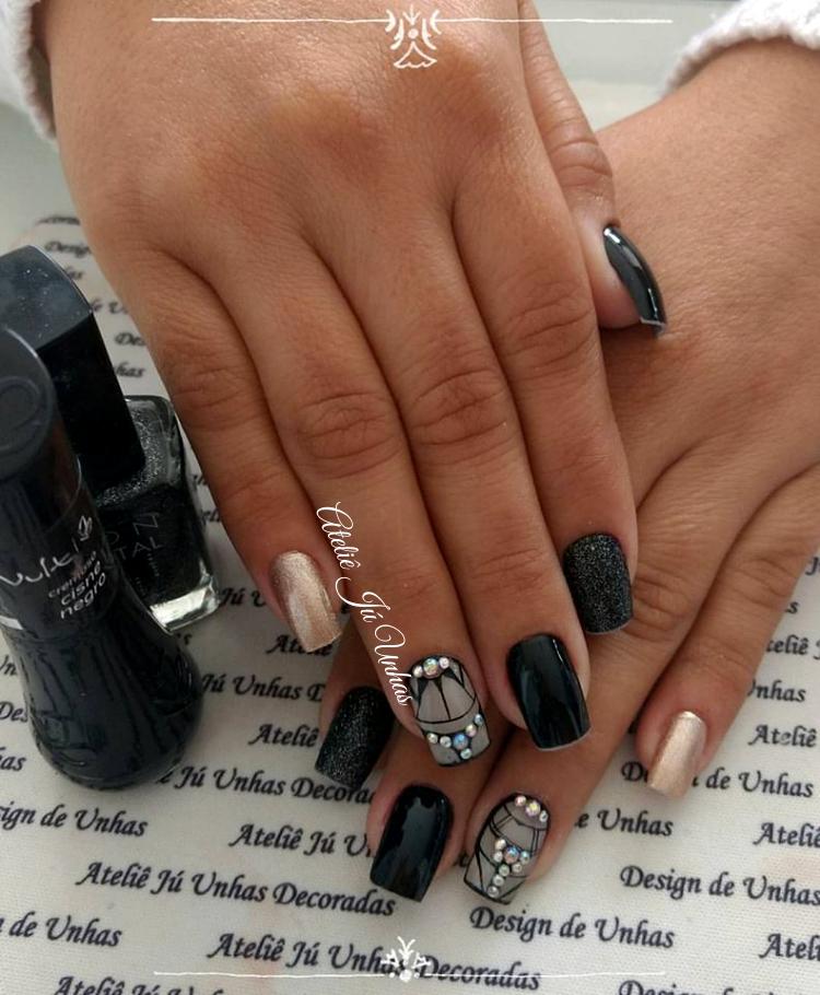 Inspiração - unhas preto e branco