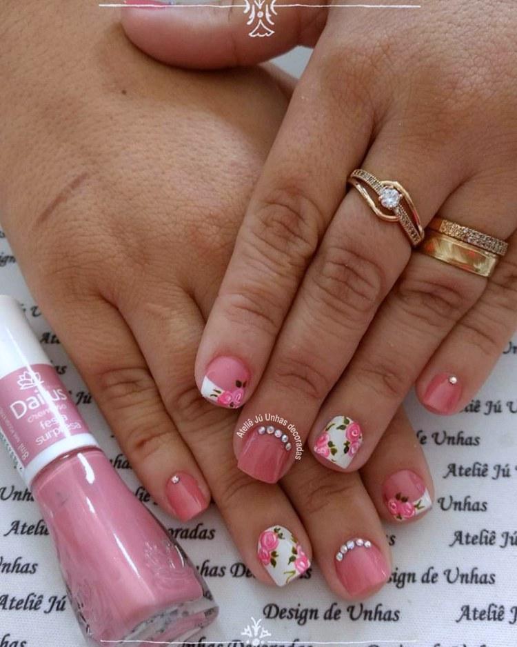 Unhas rosa - inspiração