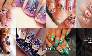 Unhas decoradas com borboletas