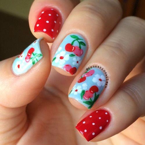 Unhas com cerejas