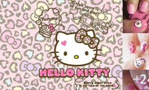 Unhas Decoradas com Hello Kitty