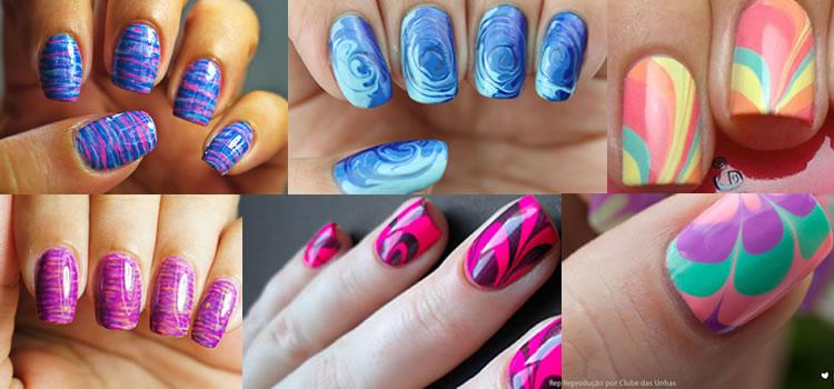 Unhas Marmorizadas para decorar suas unhas