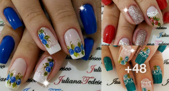 Unhas decoradas com vintage floral cover