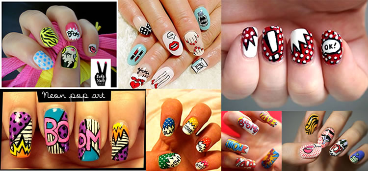 Unhas decoradas com Pop Art
