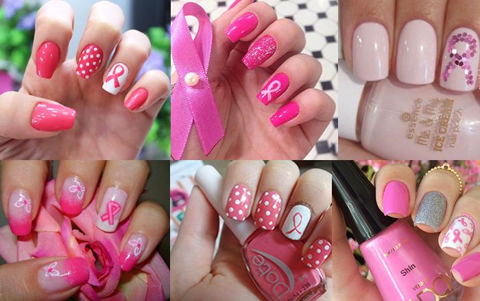 Unhas Outubro Rosa - câncer de mama