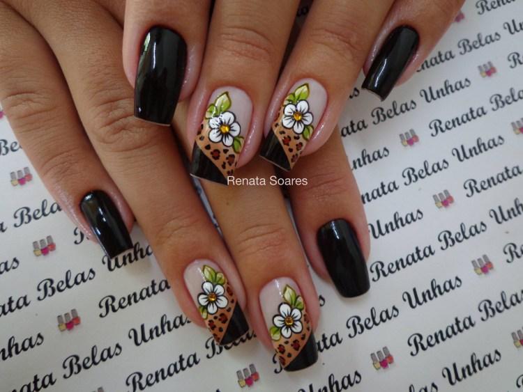 unhas decoradas Flores preto