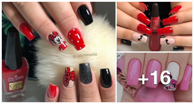 Unhas decoradas com minnie mouse1