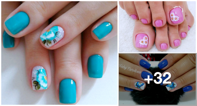 Unhas decoradas com flores mexicanas