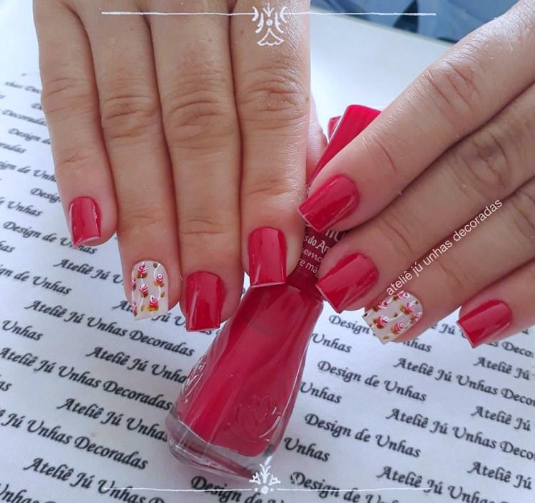 Como fazer unhas decoradas com rosas + 40 modelos e fotos