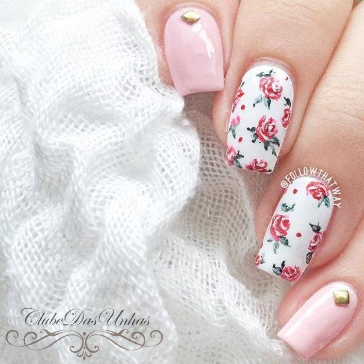 Como fazer unhas decoradas com rosas