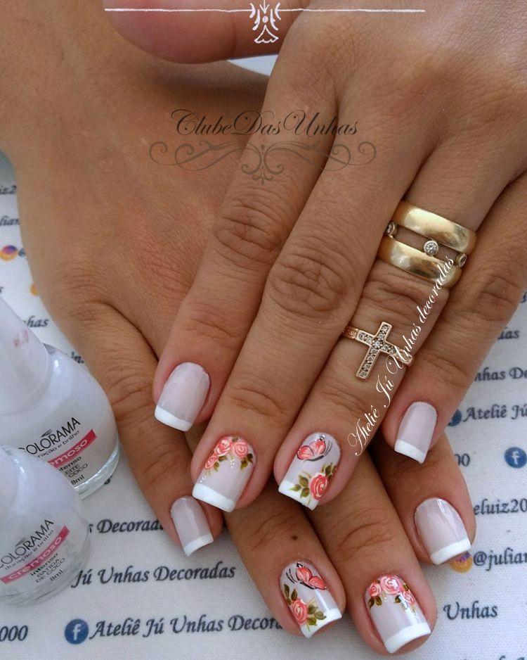 unhas decoradas Francesinhas branco