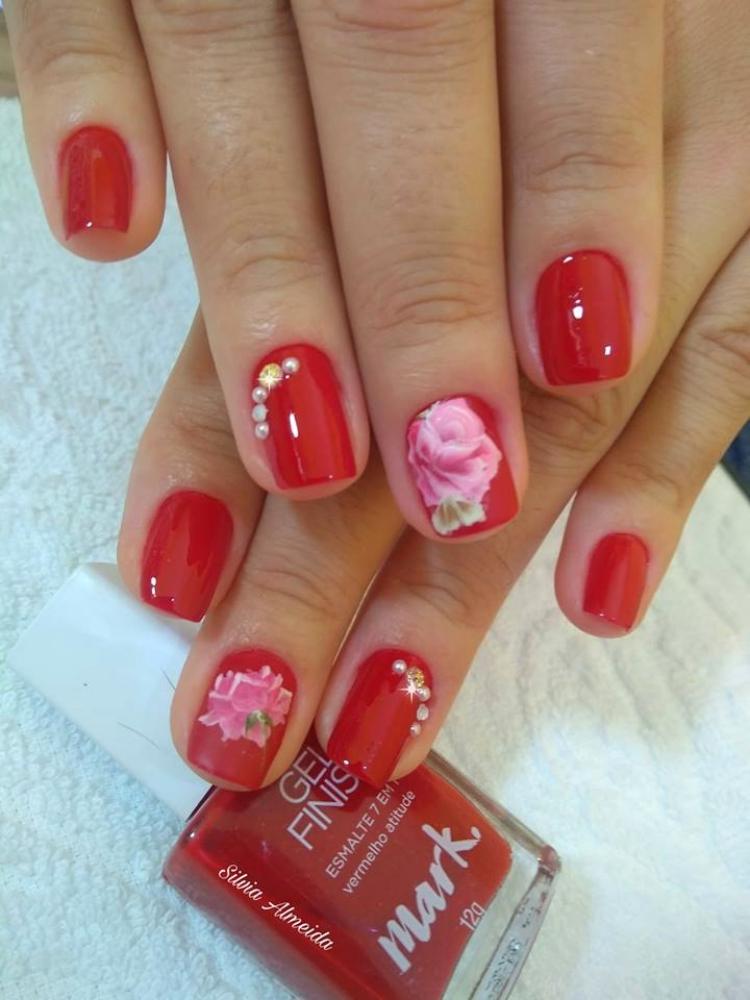 19 Fotos de Unhas decoradas com Esmalte Vermelho17