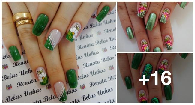 Unhas decoradas com esmalte verde