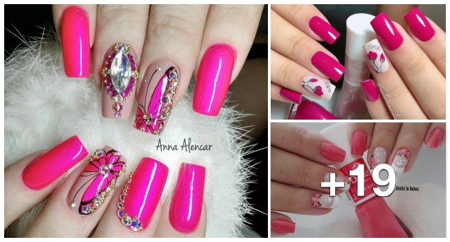 19 Modelos de unhas decoradas com esmalte rosa, veja todos1.1