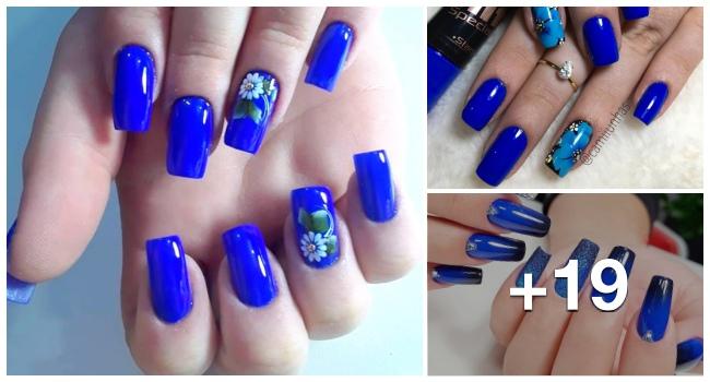 Melhores unhas decoradas usando esmalte azul, veja todos os modelos 1.1