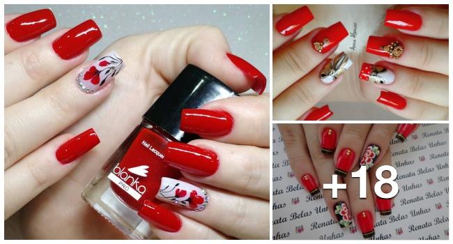 Unhas decoradas com esmalte vermelho, maravilhosas