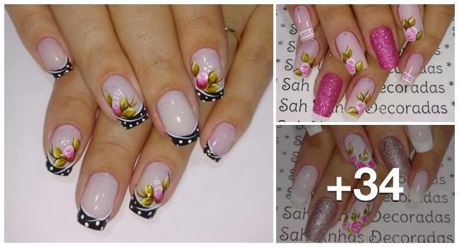 Unhas decoradas com rosas lindas, veja estes modelos