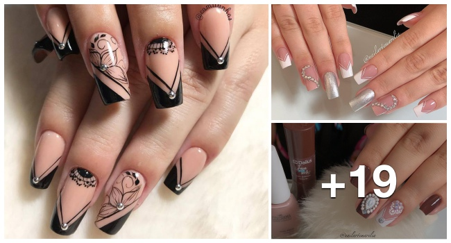 19 Ideias de Unhas decoradas francesinhas com desenhos geométricos