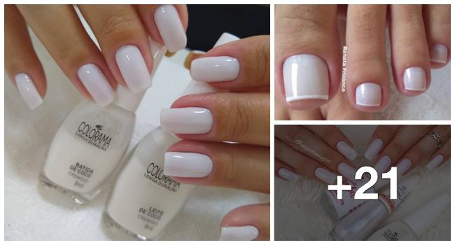 Fotos de combinação de diferentes esmaltes brancos