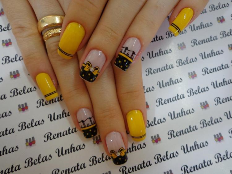 Unhas decoradas com esmalte amarelo, melhores modelos