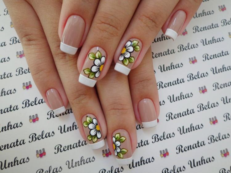unhas Desenho com flores13