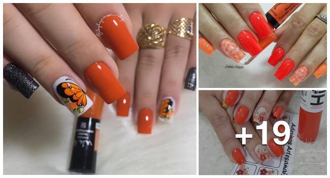 19 Fotos de unhas decoradas em laranja, inspire-se com esmaltações laranja decoradas