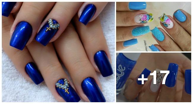 Unhas com esmalte azul1