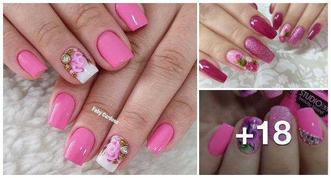 Unhas decoradas com esmalte rosa1