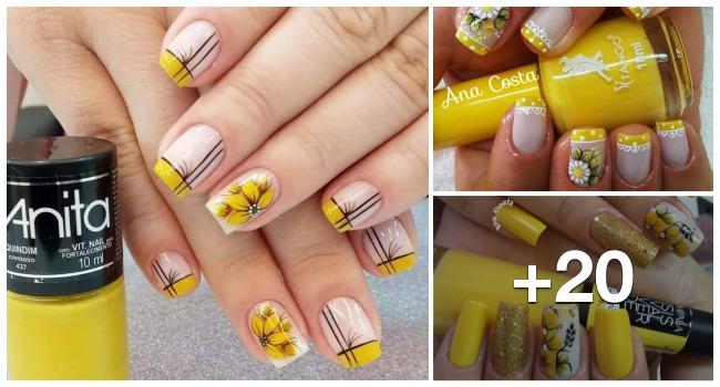 Unhas com esmalte amarelo2