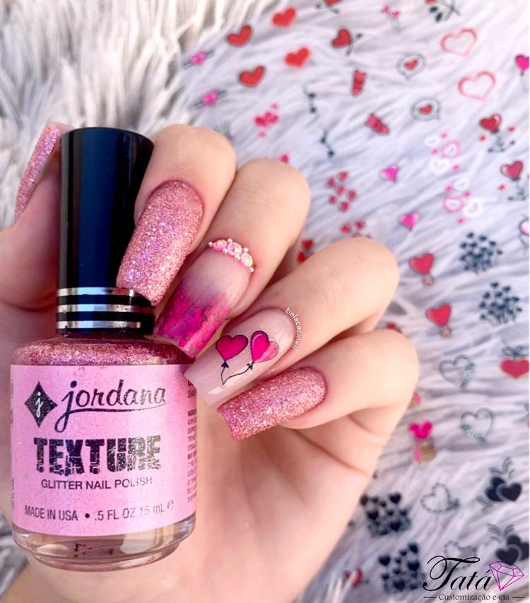 Unhas com esmalte Glitter lindas