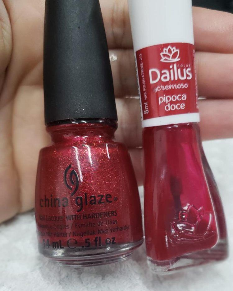 Combinações de esmaltes vermelhos