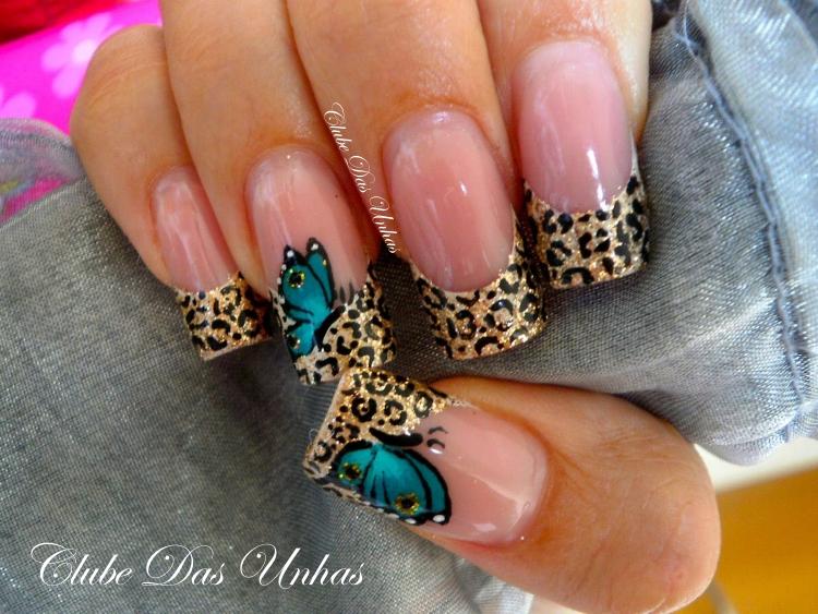 Unhas com borboletas - decoração passo a passo
