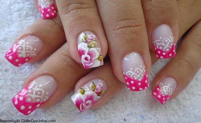 Unhas Rosa Flores Jpg Clube Das Unhas