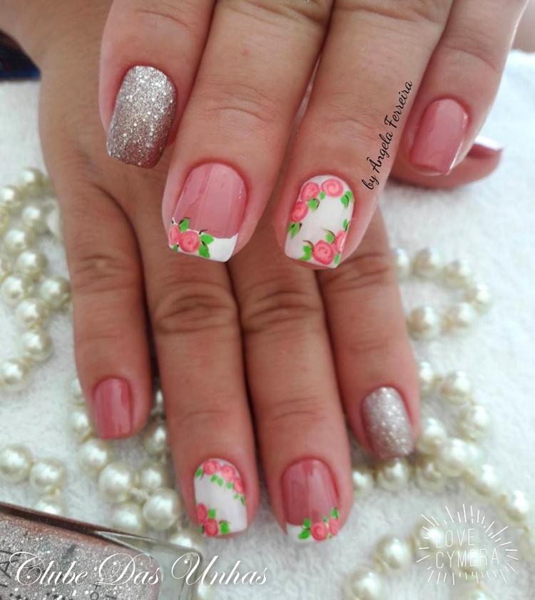 Unhas decoradas com vintage floral46