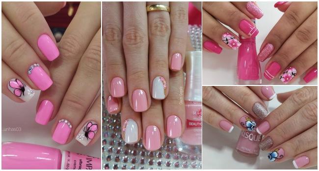 Unhas decoradas e esmaltadas em rosa114