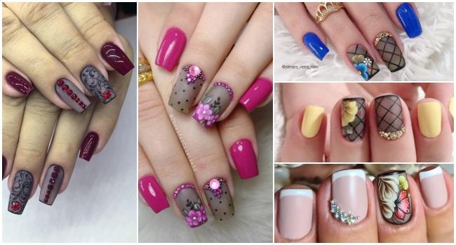 18 Modelos de unhas decoradas com efeito transparente, veja as combinações de esmalte20234
